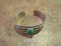 Very OLD Fred Harvey Era Navajo 900 Coin Silver CERRILLOS Turquoise Bracelet