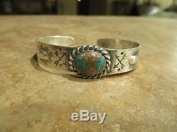 Very OLD Fred Harvey Navajo 900 Coin Silver ROYSTON Turquoise Cuff Bracelet