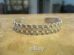 Very Scarce OLD Fred Harvey Era Navajo Sterling Silver Scalloped Design Bracelet