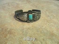 Very Scarce Old Fred Harvey Era Navajo Silver Turquoise THUNDERBIRD Bracelet
