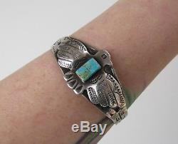 Very good thunderbird Fred Harvey VTG sterling silver cuff bracelet