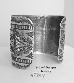 Vincent Platero Fred Harvey Style Sterling Silver Thunderbird Cuff Bracelet VJP