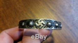 Vintage 1930's Fred Harvey Era Whirling Logs Swastika Sterling Silver Bracelet