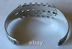 Vintage 1950s Fred Harvey Sterling Silver Double Row Turquoise Cuff Bracelet