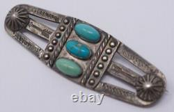 Vintage 20s-30s Fred Harvey Era Sterling Silver Turquoise Brooch with Arrow Motif