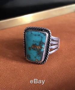 Vintage 40s Fred Harvey Silver Ingot Turquoise Mens Ring Shank Stamped Pawn RRL