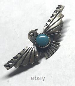 Vintage Bell Trading Post Fred Harvey Era Sterling Silver Thunderbird Brooch Pin