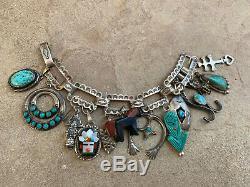 Vintage Charm Bracelet Fred Harvey Navajo Zuni Turquoise Silver Native American