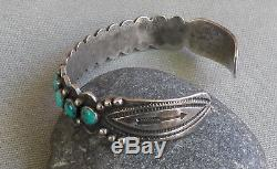 Vintage Classic Fred Harvey Era Silver Stamped Turquoise Row Cuff Bracelet