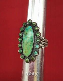 Vintage Coin Silver & Turquoise RING signed Native American Fred Harvey Era