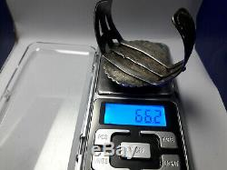 Vintage Fred Harvey #8 Turquoise Sterling Silver cuff bracelet 66.2 grams