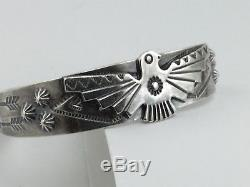 Vintage Fred Harvey Bell Sterling Silver Cuff Bracelet Navajo Thunderbird 1219