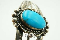 Vintage Fred Harvey Bell Trading Post Sterling Silver Turquoise Cuff Bracelet