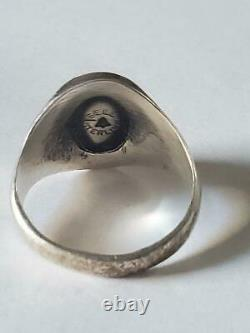 Vintage Fred Harvey Bell Trading Post Sterling Silver Turquoise Ring Sz 10