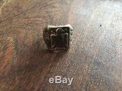 Vintage Fred Harvey Bell Trading Sterling Silver Thunderbird Ring Old Pawn 10.5