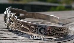 Vintage Fred Harvey Era Angel Sterling Silver Turquoise Cuff Bracelet 15.1 Gr