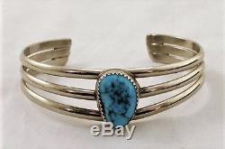 Vintage Fred Harvey Era Bisbee Turquoise Sterling Silver Cuff Bracelet Size 6