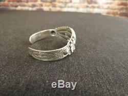 Vintage Fred Harvey Era Bracelet Sterling Silver Turquoise Stamped Cuff Navajo