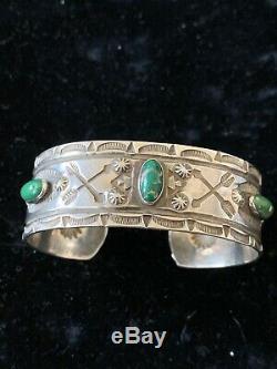 Vintage Fred Harvey Era Coin Silver Green Turquoise Wide Bracelet Gila Monster