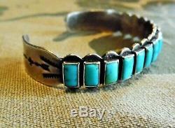 Vintage Fred Harvey Era Coin Silver Rectangular Turquoise Row Cuff Bracelet
