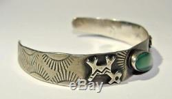 Vintage Fred Harvey Era Dog Horse Sterling Silver Green Turquoise Cuff Bracelet