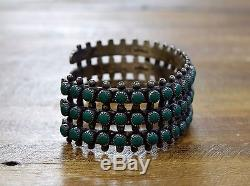 Vintage Fred Harvey Era Green Faux Turquoise Sterling Silver Cuff Bracelet