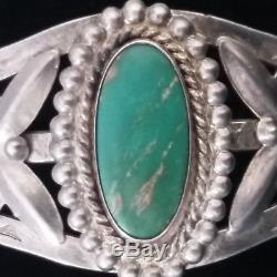 Vintage Fred Harvey Era Green Turquoise Sterling Silver CUFF BRACELET with Arrow