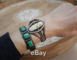 Vintage Fred Harvey Era Native American Navajo Sterling Silver Cuff Bracelet