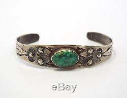 Vintage Fred Harvey Era Native American Stamped Silver & Turquoise Cuff Bracelet