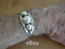 Vintage Fred Harvey Era Native American Sterling Silver Cuff Bracelet. L2916