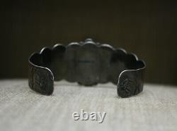 Vintage Fred Harvey Era Native American Turquoise Sterling Silver Cuff Bracelet