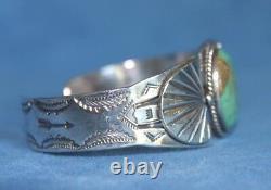 Vintage Fred Harvey Era Navajo Green TURQUOISE Arrows Sterling Silver Bracelet