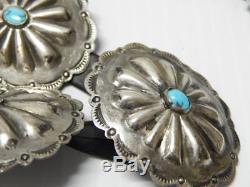 Vintage Fred Harvey Era Navajo Indian Sterling Silver Turquoise Concho Belt