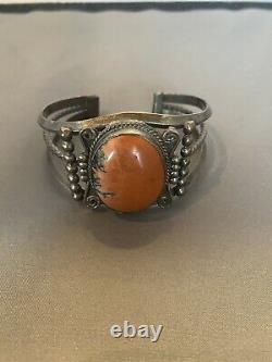 Vintage Fred Harvey Era Navajo Silver Petrified Wood AGATE Bracelet Cuff
