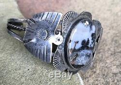 Vintage Fred Harvey Era Navajo Stamped Agate Cuff Bracelet