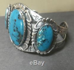 Vintage Fred Harvey Era Navajo Stamped Sterling Silver Turquoise Cuff Bracelet