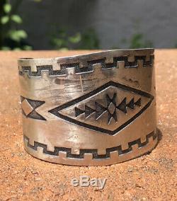 Vintage Fred Harvey Era Navajo Stamped Sterling Silver Wide Cuff Bracelet