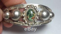 Vintage Fred Harvey Era Navajo Sterling Silver Cuff Bracelet, Arrows. Turquoise