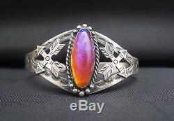 Vintage Fred Harvey Era Navajo Sterling Silver Dragons Breath Cuff Bracelet