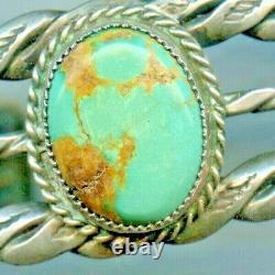 Vintage Fred Harvey Era Navajo Sterling Silver Turquoise Stamped Cuff Bracelet