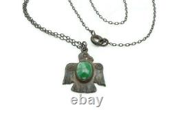 Vintage Fred Harvey Era Navajo Sterling Silver Turquoise Thunderbird Pendant