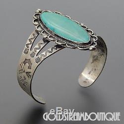 Vintage Fred Harvey Era Navajo Sterling Silver Turquoise Wide Cuff Bracelet