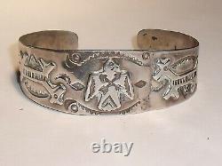 Vintage Fred Harvey Era Navajo Thunderbird Sterling Silver Cuff Bangle Bracelet