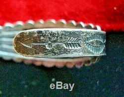 Vintage Fred Harvey Era Old Pawn Navajo Sterling Silver Turquoise Cuff Bracelet