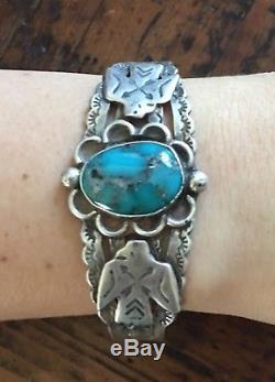 Vintage Fred Harvey Era Old Pawn Thunderbird Sterling Turquoise Bracelet Cuff