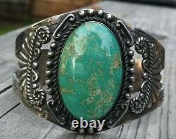 Vintage Fred Harvey Era RoystonTurquiose Navajo Sterling Silver Cuff 44.8 Grams