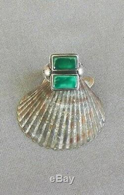 Vintage Fred Harvey Era Silver 2 Squared Green Turquoise Ring Size 6