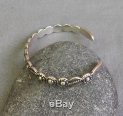 Vintage Fred Harvey Era Silver Beaded Cuff Bracelet Great for Stacking