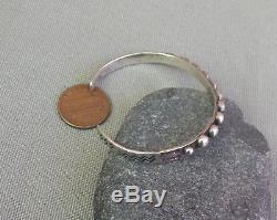 Vintage Fred Harvey Era Silver Beaded Stamped Cuff Bracelet