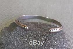 Vintage Fred Harvey Era Silver Carinated Beaded Stamped Cuff Bracelet